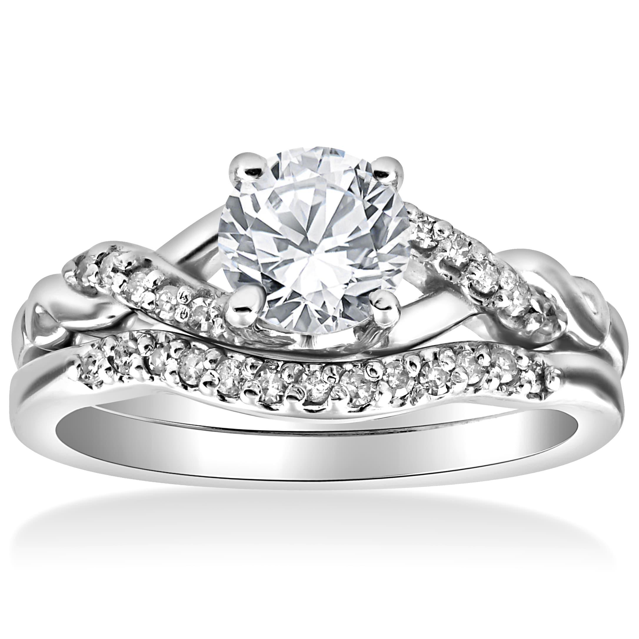 Wedding Rings Sets.14k White Gold 5 8 Cttw Diamond Engagement Matching Wedding Ring Set