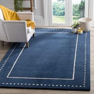 Safavieh Bella Contemporary Handmade Navy Blue / Ivory Wool Rug - 6' x 9'