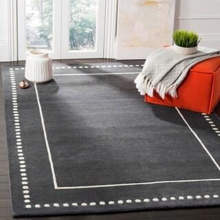 Safavieh Bella Contemporary Handmade Dark Grey / Ivory Wool Rug (6' x 9')