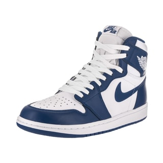Nike Men's Air Jordan 1 Retro High OG White and Blue Leather Basketball Shoes