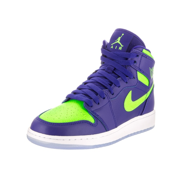 sports shoes 745b5 e2053 Nike Jordan Kids Air Jordan 1 Retro Blue and Green High-top Basketball Shoes