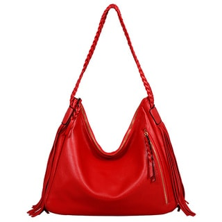 Mellow World Clarabelle Red Faux Leather Fringe Hobo Bag