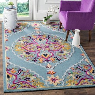 Safavieh Bellagio Hand-Woven Wool Light Blue / Multi Area Rug (5' x 8')