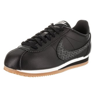 Nike Women's Classic Cortez Lux Black Leather Casual Shoe