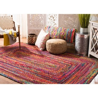 Safavieh Braided Hand-Woven Cotton Red / Multi Area Rug (6' x 9')