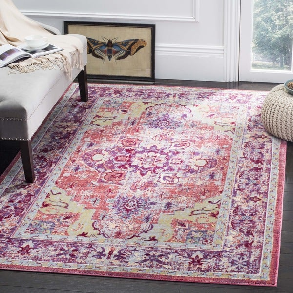 Safavieh Claremont Purple / Coral Area Rug - 6\' x 9\'2 - Free ...