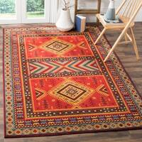 Safavieh Classic Southwestern Bohemian Red/ Slate Cotton Rug (6' 7 x 9' 2)