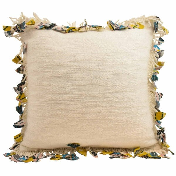 Blissliving Home Samira Fringe Off-white Cotton Decorative Pillow