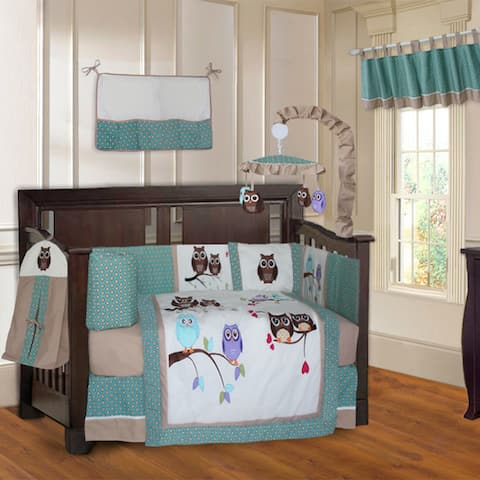 BabyFad Owl Turquoise 10-piece Crib Bedding Set