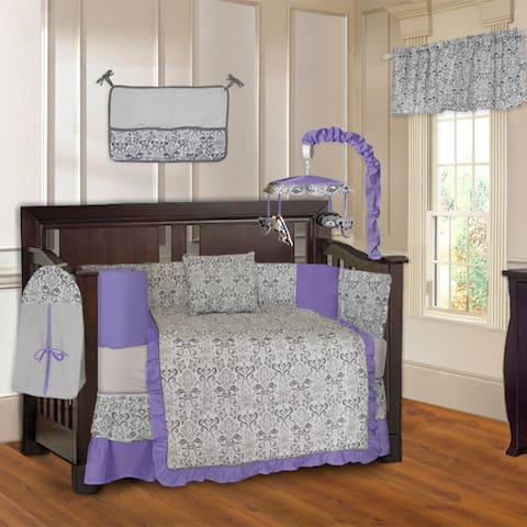 BabyFad Damask Purple 10-piece Crib Bedding Set
