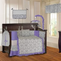 BabyFad Damask Purple 10-piece Crib Bedding Set