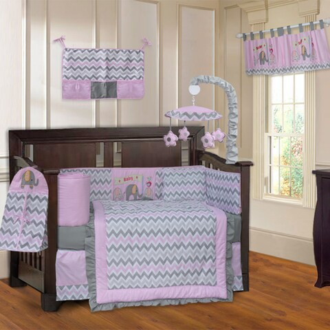 BabyFad Elephant ZigZag Elephant Pink 10-piece Crib Bedding Set