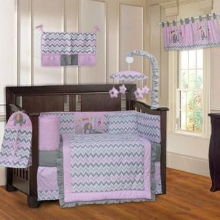 N BabyFad Elephant ZigZag Pink 10piece Crib Bedding Set