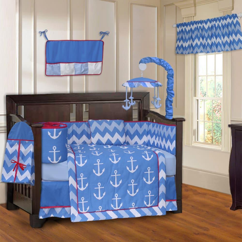 BabyFad Anchor Zigzag 10-piece Crib Bedding Set (Anchor Z...