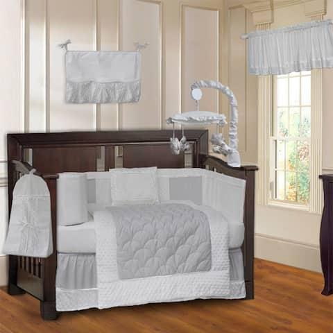 BabyFad Minky White 10-piece Crib Bedding Set