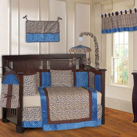 BabyFad Leopard Blue 10-piece Crib Bedding Set