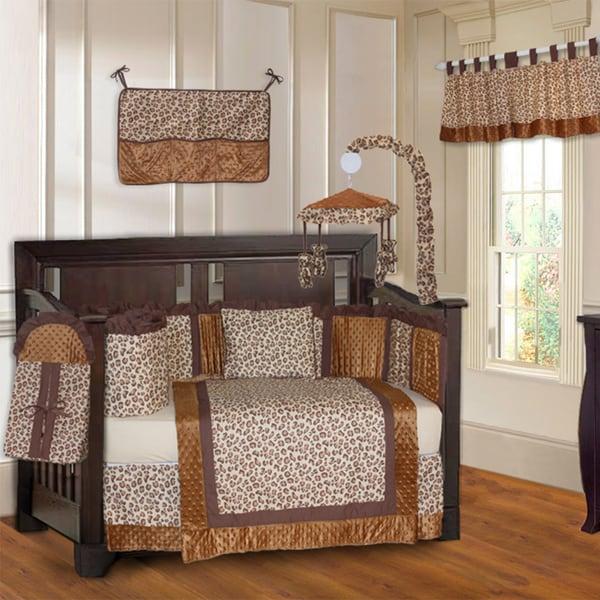 Shop Babyfad Leopard Brown 10 Piece Crib Bedding Set