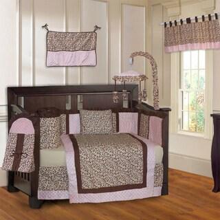 BabyFad Leopard Pink 10-piece Crib Bedding Set