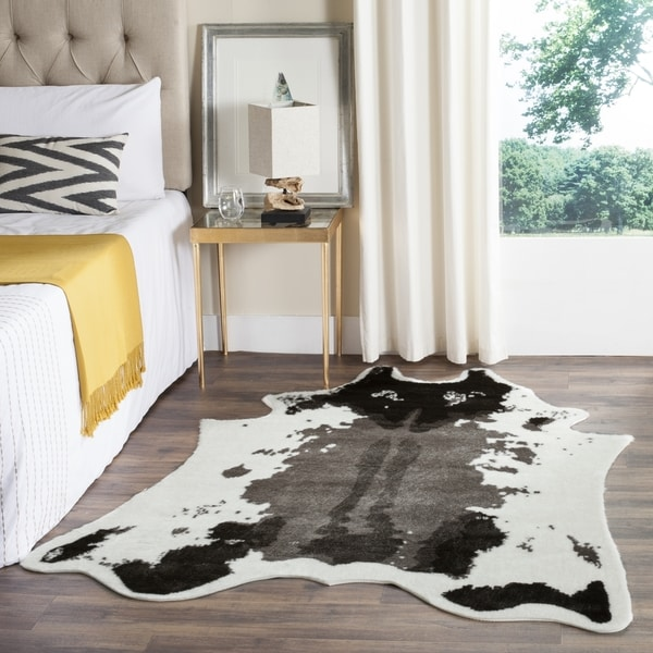 Shop safavieh faux cow hide dark grey area rug 5 39 x 6 39 7 on sale free shipping today - Faux animal skin rugs ...