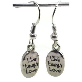 Mama Designs Handmade Inspirational 'Live, Laugh, Love' Silver Hook Earrings