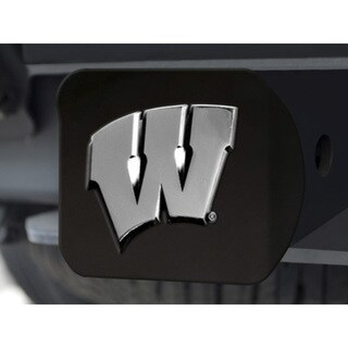 Fanmats Wisconsin Black Chrome Metal Hitch Cover