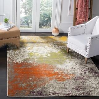 Safavieh Porcello Modern Watercolor Grey/ Orange Area Rug (6' x 9')