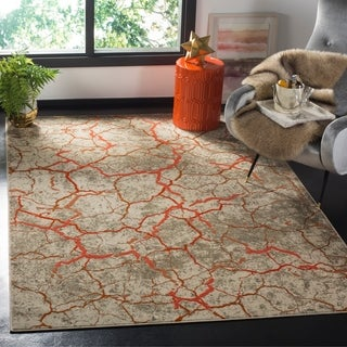 Safavieh Porcello Modern Abstract Grey/ Orange Area Rug (6' x 9')