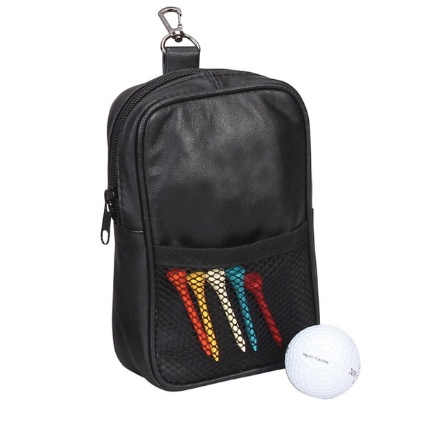 Black Leather Golf Pouch