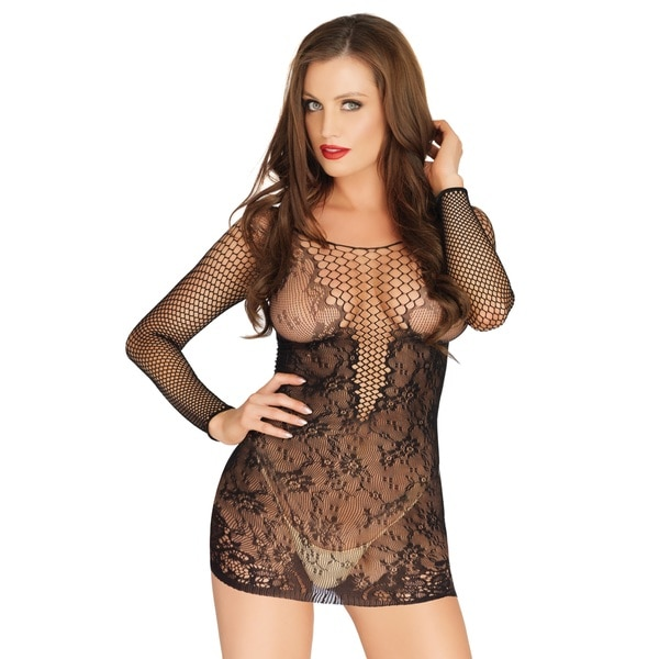 b5063fcc7f Leg Avenue Net and Lace Long Sleeved Mini Dress with Deep V-neck Design