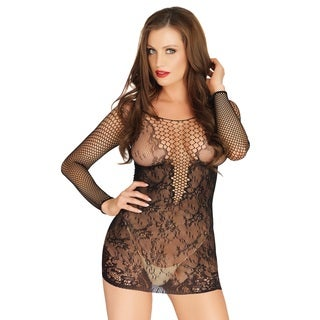 Leg Avenue Net and Lace Long Sleeved Mini Dress with Deep V-neck Design