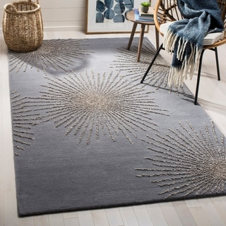 Safavieh SoHo Hand-Woven Wool Dark Grey / Silver Area Rug (5' x 8')
