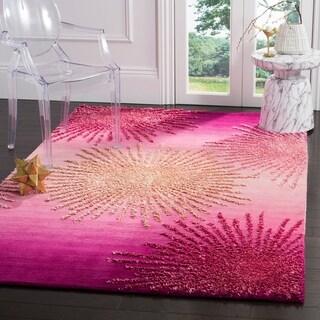 Safavieh SoHo Hand-Woven Wool Pink Area Rug (5' x 8')