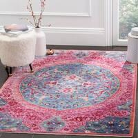 Safavieh Sutton Boho Medallion Turquoise/ Fuchsia Pink Area Rug - 5' x 7'