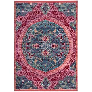 Safavieh Sutton Nilgul Boho Oriental Polyester Rug (5 x 7 - Turquoise/Fuchsia)