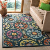 Safavieh Suzani Hand-Woven Wool Blue / Multi Area Rug (5' x 8')