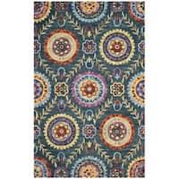 Safavieh Suzani Hand-Woven Wool Blue / Multi Area Rug - 5' x 8'