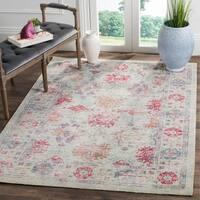 Safavieh Windsor Ivory / Fuchsia Distressed Silky Polyester Area Rug - 5' x 7'