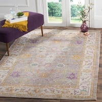 Safavieh Windsor Grey / Cream Distressed Silky Polyester Area Rug (5' x 7')