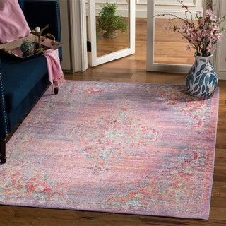 Safavieh Windsor Lavender/ Fuchsia Distressed Silky Polyester Area Rug (5' x 7')
