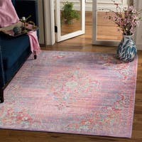Safavieh Windsor Lavender/ Fuchsia Distressed Silky Polyester Area Rug - 5' x 7'
