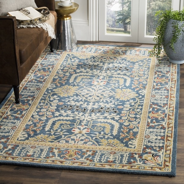 Blue Outdoor Rug 9x12: Safavieh Antiquity Hand-Woven Wool Dark Blue / Multi Area