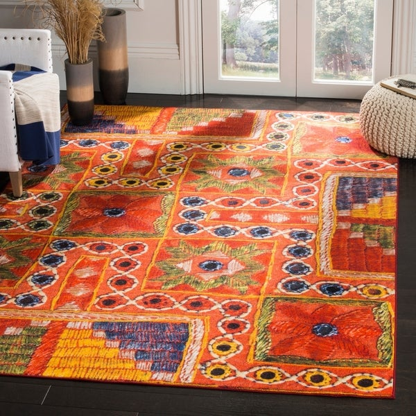 Safavieh Aztec Orange Multi Area Rug 8 X27