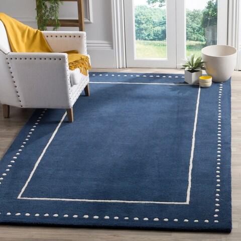 Safavieh Bella Contemporary Handmade Navy Blue / Ivory Wool Rug - 8' x 10'