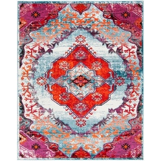 Safavieh Cherokee Light Blue / Fuchsia Area Rug (8' x 10')