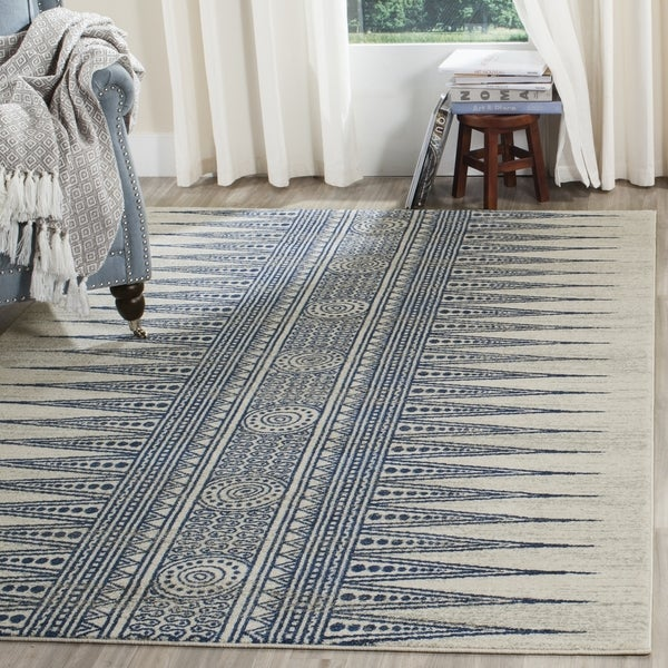 Safavieh Evoke Vintage Boho Chic Ivory / Blue Distressed Rug (8u0026#x27; X