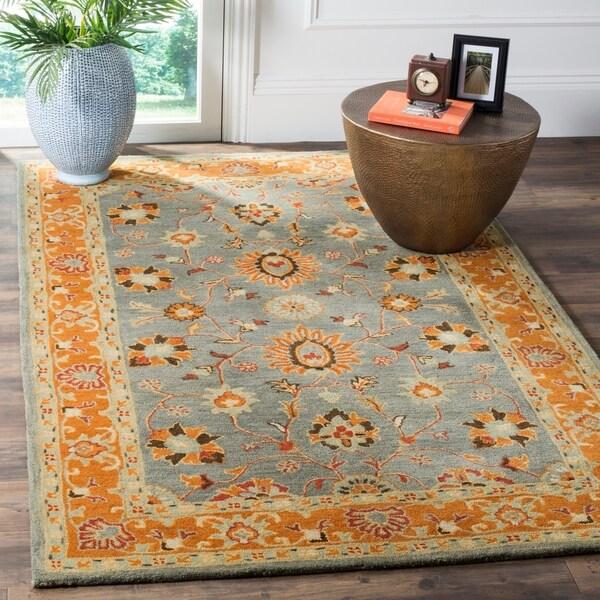 Shop Safavieh Heritage Hand Woven Wool Blue Orange Area