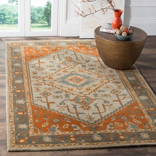 Safavieh Heritage Hand-Woven Wool Light Blue / Rust Area Rug (8' x 10')