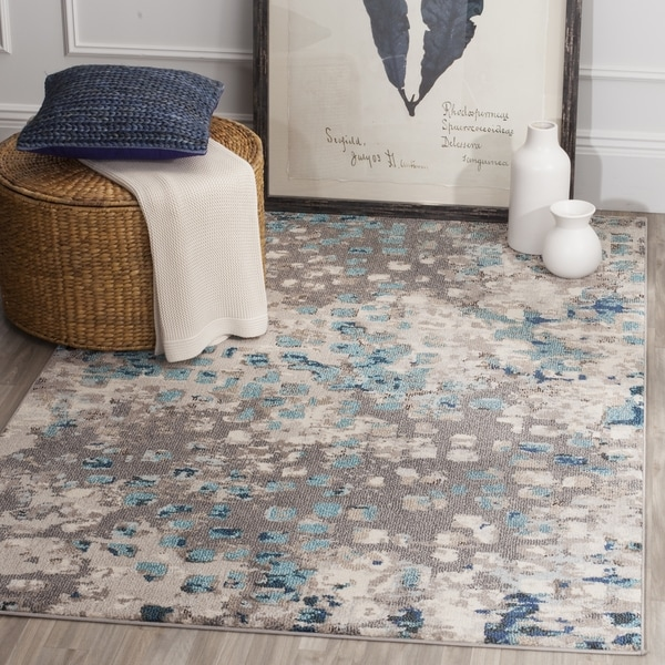 Safavieh Monaco Abstract Watercolor Grey / Light Blue Distressed Rug  (10u0026#x27; ...