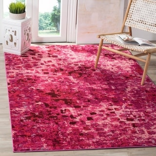 Safavieh Monaco Abstract Watercolor Fuchsia Distressed Rug (9' x 12')