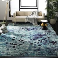Safavieh Monaco Abstract Watercolor Light Blue/ Multi Distressed Rug - 9' x 12'